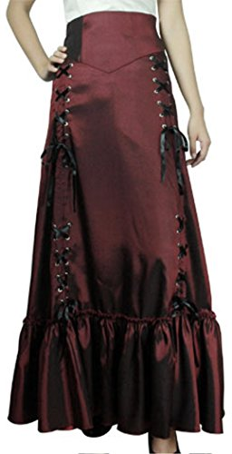 (XXL) Steampunk Ball - Burgundy Victorian Gothic Burlesque Corset Bustle Skirt 5