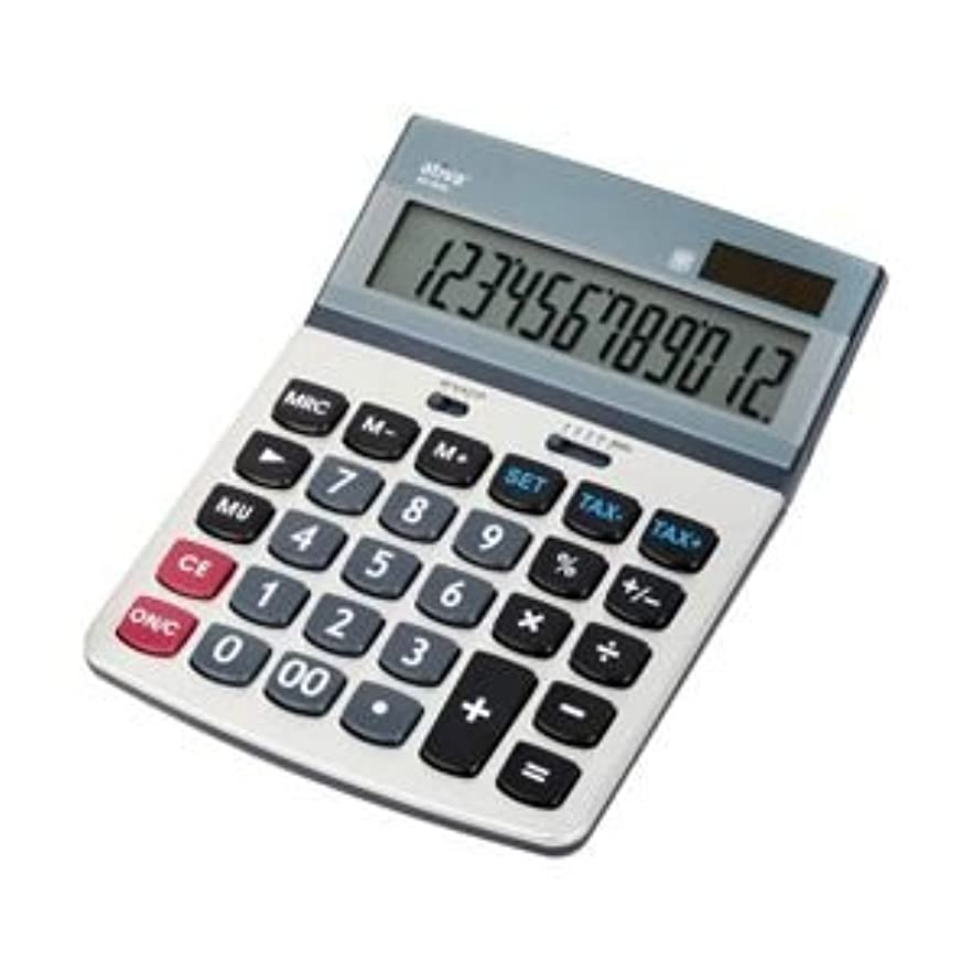 傑出した調査悪用(業務用セット) Ativa 中型電卓 12桁 縦18.4 x 横13.3 x 厚さ3.4 cm 色:グレー 1台 【×5セット】