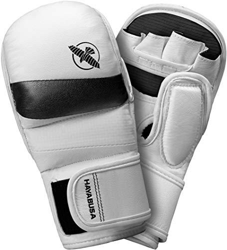 Hayabusa T3 Gants d'entraînement de sparring MMA pour homme et femme Blanc/noir Taille XL