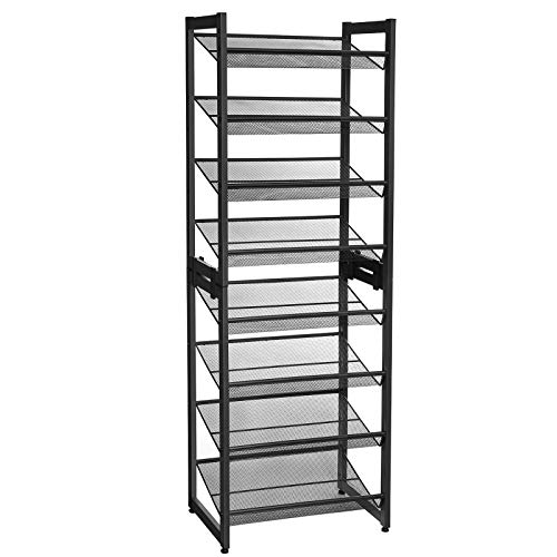 SONGMICS 8-Tier Slim Shoe Rack, Set of 2 Stackable 4-Tier Shoe Organisers, 16-24 Pairs of Shoes, Compact with Large Capacity, Metal Mesh Shoe Shelf Storage, 45 x 30.5 x 128.5 cm, Black LMR007B01