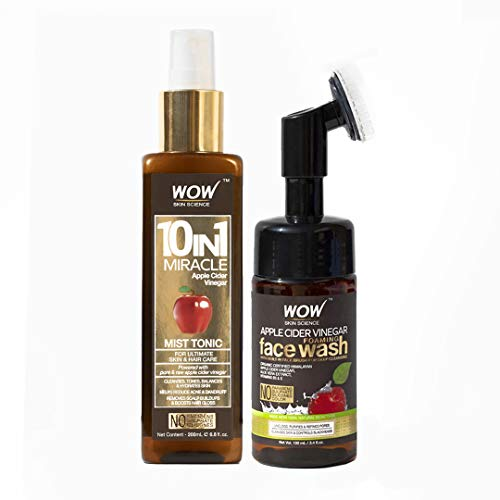 WOW Apple Cider Vinegar Face Wash W/ Brush and Facial Mist Toner Spray Bundle Kit - Gentle Exfoliating Bristle Brush Daily Cleanser - Hydrate For Soft, Smooth Skin - Natural Skin Care Set - 100mL (x2)
