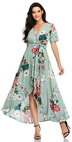 Pinup Fashion Boho Maxi Dresses for Women Green Floral Dress Slit High Low Short Sleeve Wrap V Neck Beach Party...