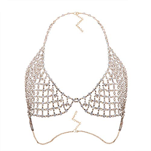 idealway Sexy Crystal Rhinestones Body Jewelry Fashion Bikini Chain Necklace Hollow Out Underwear Bra Design Summer Beach (Gold) (Gold)