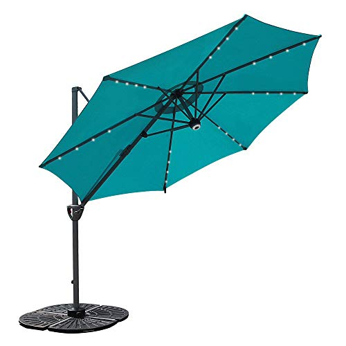 COBANA 10' Offset Patio Umbrella with Solar Powered and Blue-Tooth Speaker and 360 Degree Rotation...