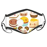 DPASIi Fashion 3D Face Protect Printed Gesichts-Mundschutz, Chubby Kawaii Baked Goods with Smileys on Their s Cute Desserts Girly Bunny Ears,with 10 Filter