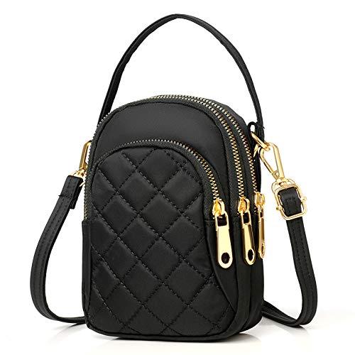 Small Multi Pocket Crossbody Phone Purse Black Women Quilted Crossbody Cell Phone Bag with Strap Shoulder Bag iPhone Handbag Cross Body Bag