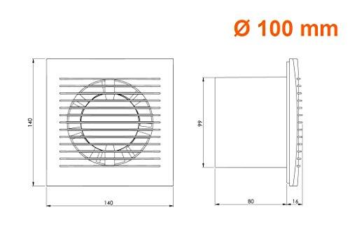 Ø 100mm Wandventilator Lüfter Abluft Kabel Schalter Ventilator Küche WC Bad mit stecker, Farbe - Silber 4