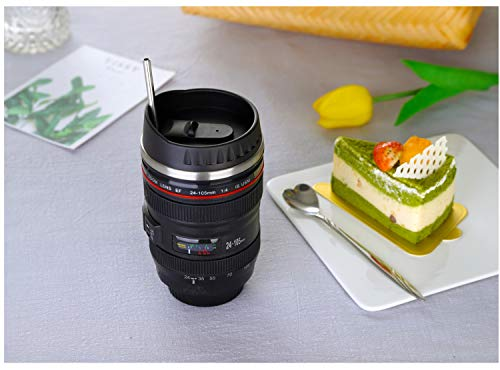 Coffee Mug,Camera Lens Cup with Sipping Lid,Super Bundle(Spoon+Straw+Brush),Stainless Steel Travel Mug,Beer Tumbler,Photographer Tea Cup,Novelty Filmmaker Coffee Mugs for All Festival,by POXIWIN