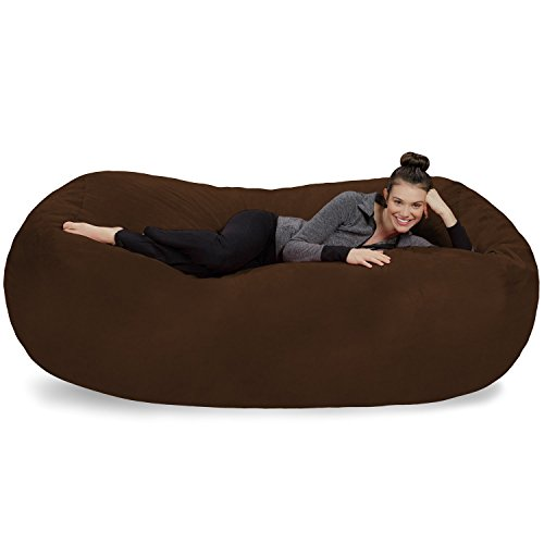 Sofa Sack - Plush Bean Bag Sofas with Super Soft Microsuede Cover - XL Memory Foam Stuffed Lounger Chairs for Kids, Adults, Couples - Jumbo Bean Bag Chair Furniture - Chocolate 7.5'