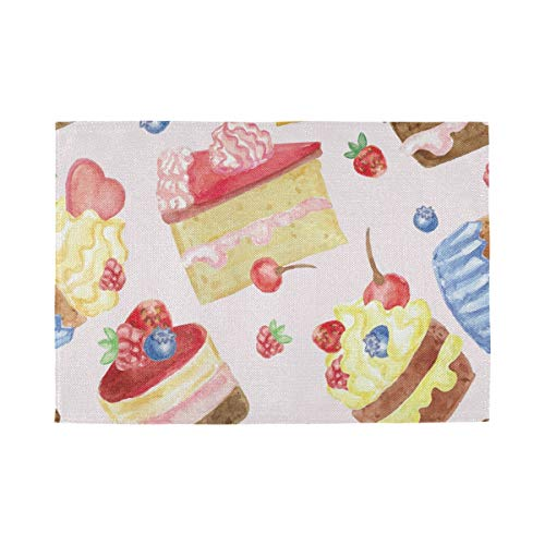 ATONO Watercolor Sweet Cakes Placemat Kitchen Table Lunching Plate Mats Double-Sided Use [4 PCS 12X18 Inch] Non-Slip Washable Dining Insulation Pads