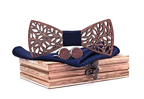 SET PRODUCTS Effet Garanti Coffret Noeud Papillon Bois Sculpté Marron avec Carré de Tissu Bleu Assorti et Boutons de manchettes en bois | Fait main | Cadeau, Réception, Mariage | Taille réglable