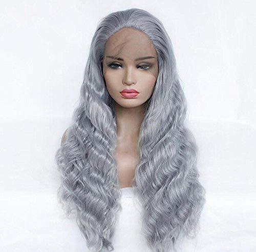 Perruque Femmes Big Wavy Shallow Longs Cheveux Bouclés Gris Avant de Lacet Réaliste Fibre Synthétique Femmes Perruques de Haute Qualité