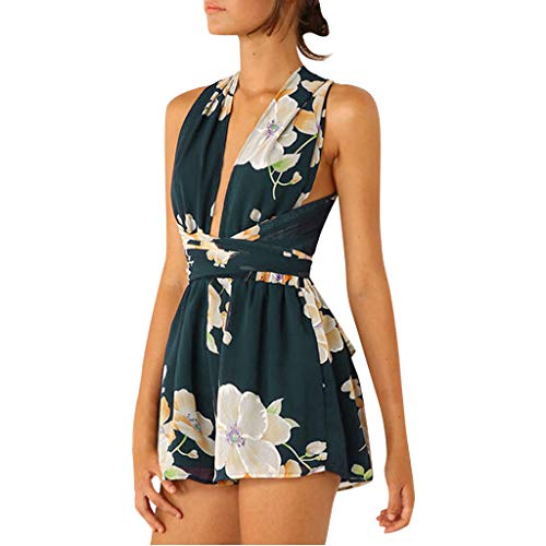 FRAUIT Dames Jumpsuit Elegant Korte broek zomer kant naaien Bowknot Bloemenprint Playsuit Bodycon mouwloos Party Casual losse shorts Strandoverall