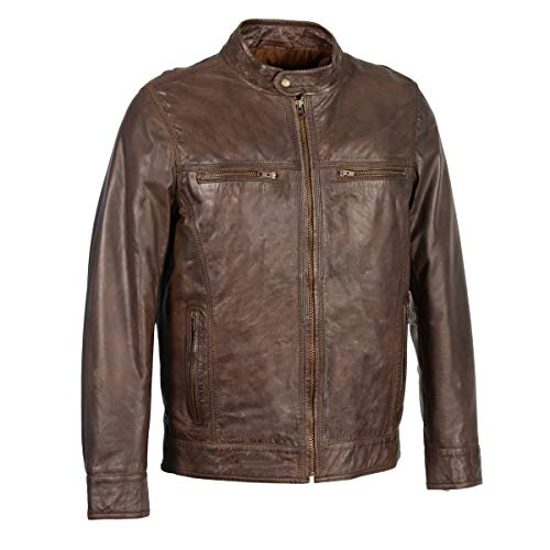 Milwaukee Leather SFM1865 Mens Broken Brown Leather Jacket with Front Zipper Closure - Large