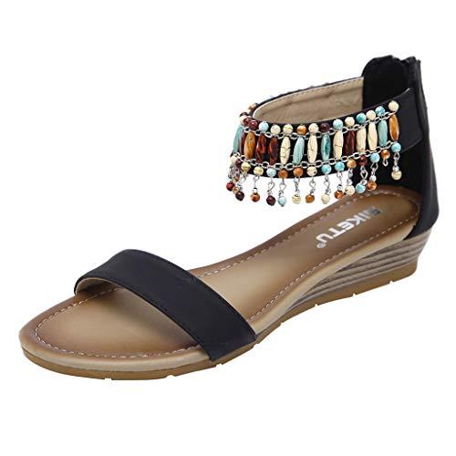 MRULIC Damen Weiche Sohle Flache Sandalen Mode Sommer Roman Reißverschluss Low Heels Wedges Sandalen Strandschuhe mit Perlen Quasten(Schwarz,EU-39/CN-40)