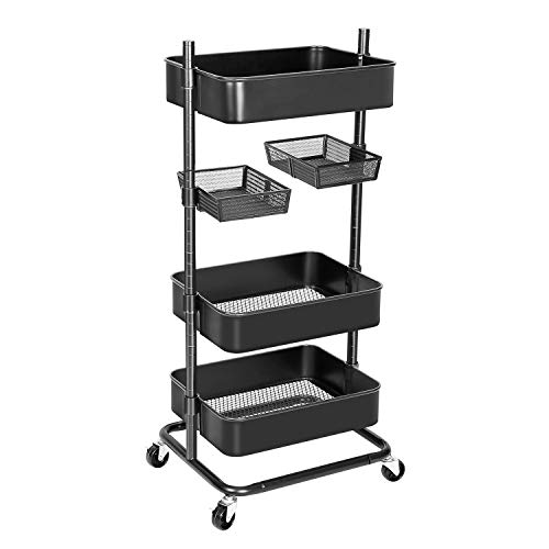 Anstar 3-Tier Rolling Utility Cart with 2 Rotatable Trays Adjustable Multifunction Storage Cart with Lockable Wheels Easy Assembly Makeup Cart Trolley Cart for Kitchen Bathroom Garage Salon (Black)