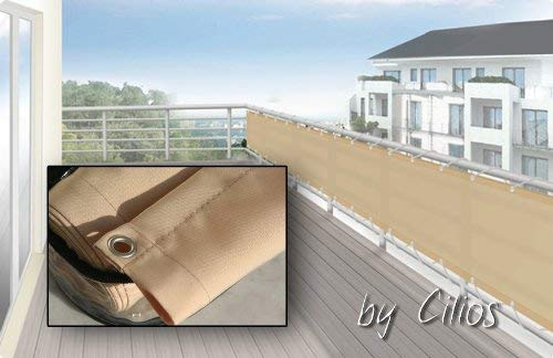 Floracord 12-75-30-01 Hochwertige Balkonumrandung aus Polyesterstoff 75 x 300 cm mit Zubehör montagefertig, sisal