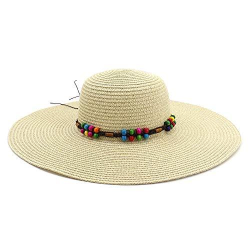 WANGXINQUAN Verano Sombrero de Paja Plano Sombrero for el Sol for Las Mujeres Primeras Mujeres Chapeu Feminino Rayado Floral Satén Estilo de Panamá Playa (Color : Light Khaki, tamaño : 56-58CM)