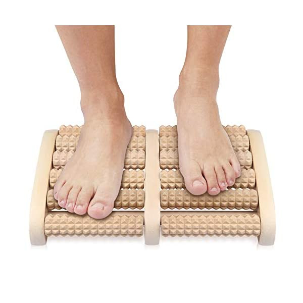 NewWay Dual 6 Row Foot Wooden Massager Roller Relief Tired Feet Pain and Plantar...