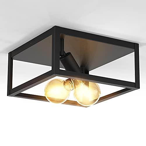 OTREN Plafoniera a cubo con 2 punto luce, attacco per lampadina E27 non inclusa, lampada da soffitto in metallo nero opaco