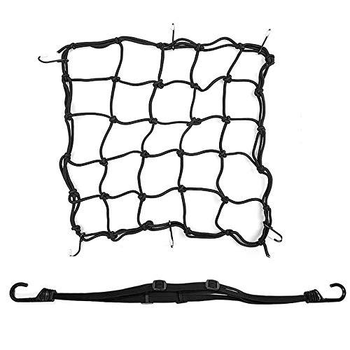 2 Stück Motorrad Gepäcknetz Fahrrad Netz Helmnetz, Einziehbares Elastisches Seilgurt-Bungee-Netz mit 6 Haken, für ATVs mit Motorrad-Gepäckraumabdeckung