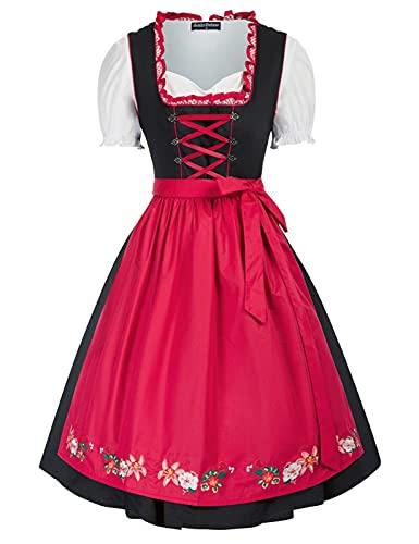 SCARLET DARKNESS Damen Trachtenkleid 3tlg Kleid, Bluse, Schürze Damen Knielang Dirndl Kleid für Oktoberfest Trachtenkleid L Schwarz und Rot