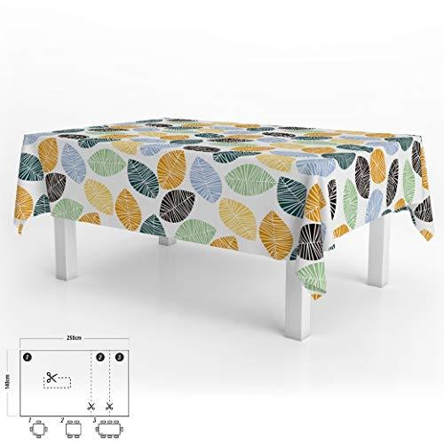 Mantel Hule Rectangular Hojas Colores Impermeable Antimanchas PVC 140x250 cm. Recortable Uso Interior y Exterior