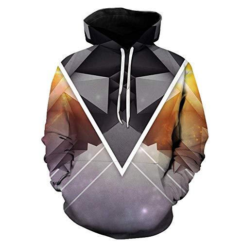 Preisvergleich Produktbild 3D-MEN Sweatshirt Unisex 3D Hoodie Neuheit Personalisiertes Sweatshirt Pullover Kapuzenstretch Hoodie Geometrie M