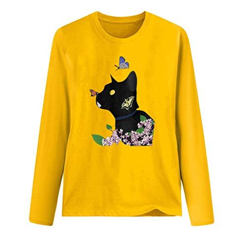 Qikoup Femmes O-Neck Cat Butterfly Flower Print T-Shirt à Manches Longues Ladies Girls Blouse Top Pullover Sweatshirts