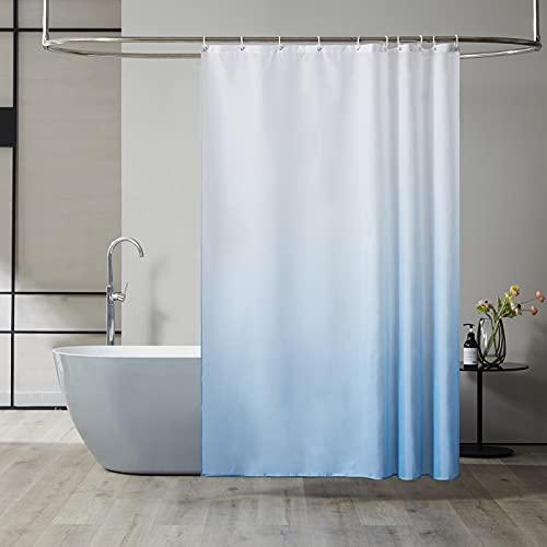 Furlinic Duschvorhang Textil Anti-schimmel Wasserdicht Waschbar Badvorhang aus Polyester Stoff Weiß nach Hellblau 150x180cm mit 10 Duschvorhangringen.
