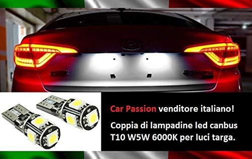 Coppia Luci Targa Led CANBUS T10 W5W 6000K 5 Led Lampadine CANBUS NO ERRORE