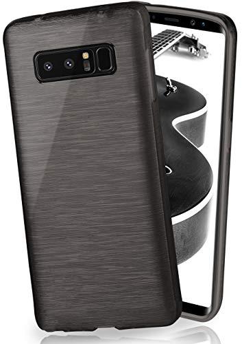 moex Stylische Brushed Aluminium-Optik und starker Grip | Ultra dünne Silikonhülle passend für Samsung Galaxy Note8 in Schwarz