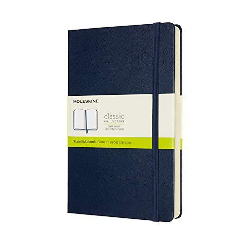 Moleskine - Klassisches Notizbuch, Blanko Seiten, fester Einband und elastischer Verschluss, Größe 13 x 21 cm, Farbe saphir blau, 400 Seiten