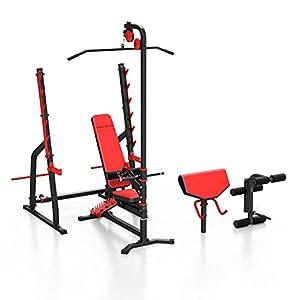 Marbo Sport Set MS36 | Panca pesi MS-L102 + supporto per pesi regolabile MS-S107 + scrivania curl MS-A101 + leg extension MS-A102 + lat pulldown MS-W102 | Imposta 83kg / 113kg tra cui scegliere | Made in UE