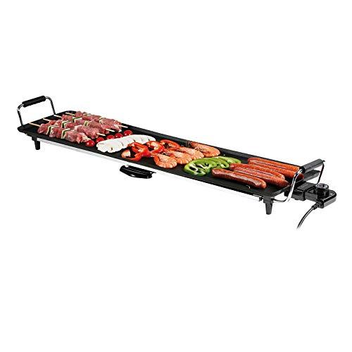 Teppanyaki XXL Barbecue de table électrique avec bac récupérateur de graisse (forte 1800 W, grande surface de cuisson, grillades saines, 90 x 23 cm)