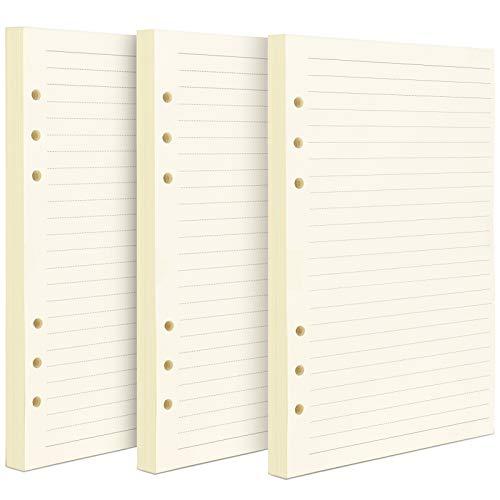 3 Packungen A5 Papier Liniert, FANDAMEI 6 Löcher 135 Blätter A5 Nachfüllpapier Nachfüllbare Refill Paper Nachfülleinlagen für A5 Notizbuch, Tagbuch
