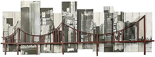 Decoraciones de pared, Arte de la pared de metal, decoración de la pared del puente de hierro forjado de la vendimia, la decoración del bar Café Música del restaurante Colgadores de pared, estilo indu