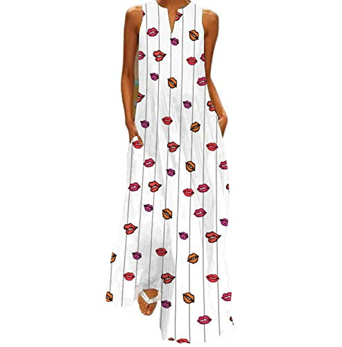 QAZW Vestido Maxi de Talla Grande para Mujer Vestido Largo Holgado y Cómodo con Cuello en V y Estampado Floral con Rayas en Bloque de Color Sin Mangas,F-4XL