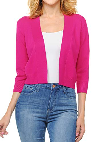 Urban Look Women's Basic 3/4 Sleeve Open Front Light Weight Sweater Cardigan (S-XL) (Large, Hot Pink)