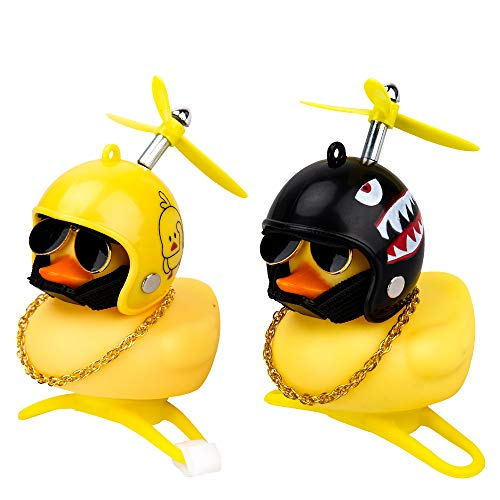 Bike Bell Accessories Toy for Kids Ages 4-9, Rubber Duck Bicycle Bell Gift for Adults Boy 5 6 7 8 9 Years Old Toddler Bike Helmet Horn Car Dashboard Decorations Birthday Present for Men Girl Ages 5-12