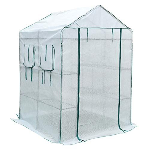Lqqdp Greenhouse 3 Tier Greenhouse, Extra Wide PVC Cover Grow Tent/Housewares, for Outdoor Hot House Roof Patio Backyard/White (Size : L)