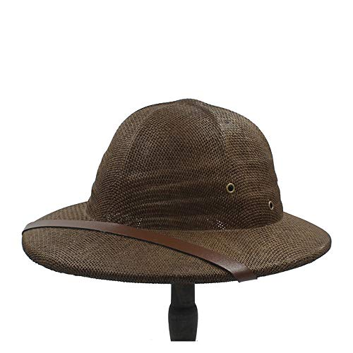 LHZUS Sombreros Bowler Hat Fashion Vietnam War Knuckle Protection Ladies Explorer ClassicStraw Hat Summer Bow Bucket Jungle Miner Cap (Color : Café, Size : 56-58cm)