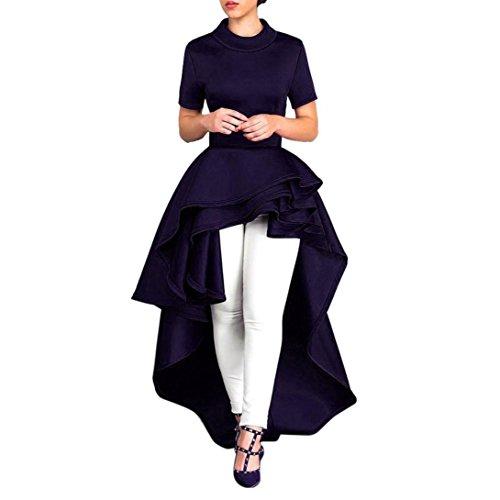 FORUU Women Short Sleeve High Low Peplum Dress Bodycon Casual Party Club Dress, Dark Blue, XX-Large