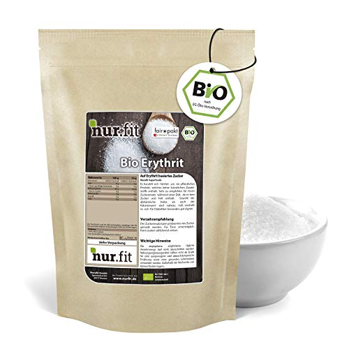 nur.fit by Nurafit BIO Erythrit 1kg – natürliche Zucker-Alternative ohne Kalorien – Zucker-Ersatz ohne Zusätze – veganer Erythrit-Zucker als Zuckersubstitut