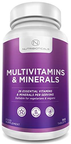 New 26 Essential Multivitamins & Minerals | 1 Year Supply | Vegan Friendly | Non-GMO | 365 Tablets by Nutribioticals