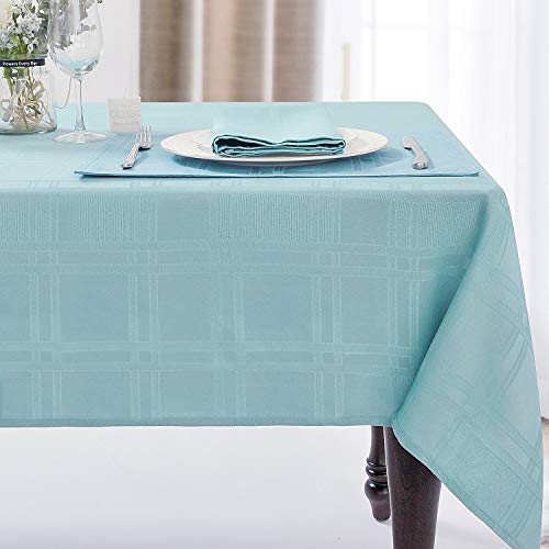 JUCFHY Soild Plaid Jacquard Table Cloth Elegance Wrinkle Resistant Contemporary Woven Decorative Tablecloths, Spillproof Soil Resistant Holiday Table Cover, 60 X 84, Turquoise