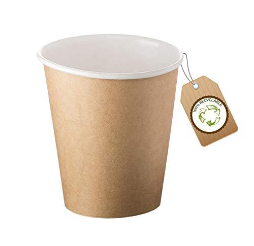cubex professional ® Kit da 500 bicchieri riciclabili in cartoncino avana 90 ml (3 OZ) per Caffè Acqua o Bevande Calde e Fredde