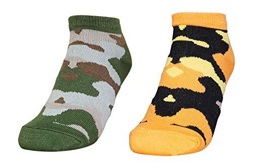 2 Paar Kinder Sneaker Socken | Jungen und Mädchen Camouflage Füßlinge (mehrfarbig 2, 27-30)