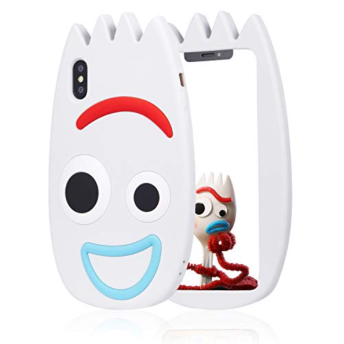 Jowhep Schutzhülle für iPhone XR Silikon Karton-Design Cute Cover Mode Funny Kawaii 3D Skin Schutzhülle Zubehör Schale für iPhone XR 6.1 Zoll stoßfest kratzfest Hüllen für Mädchen Frauen Weiß Gabel