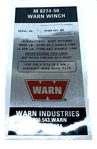 Warn 37489 Name Plate Label Decal